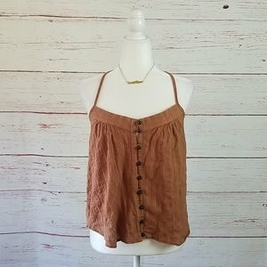 T-BAGS L.A. // brown & gold thread t-back halter